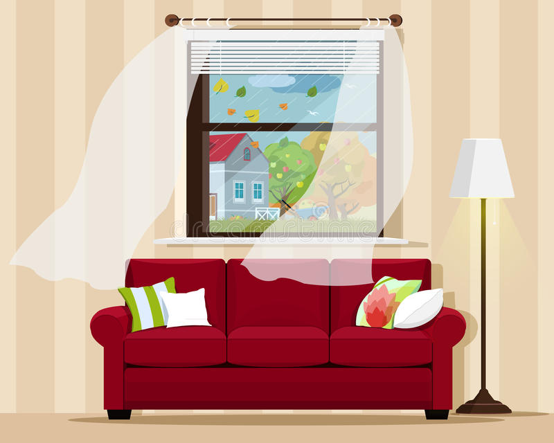 Stylish comfortable room interior with sofa, lamp, window and autumn landscape. Flat style. stock illustration