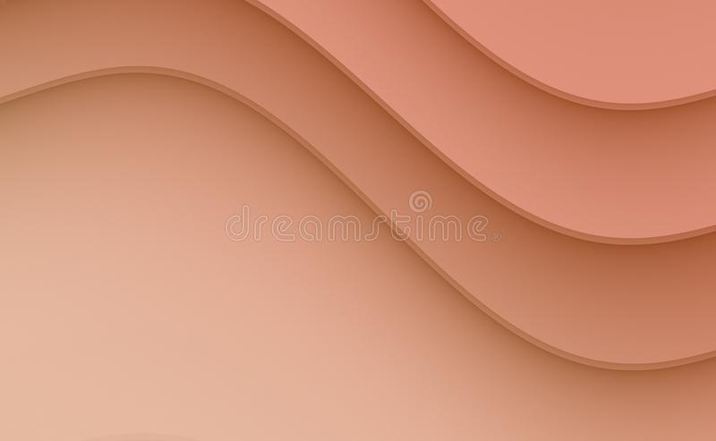 Salmon Pink smooth cascading curves abstract wallpaper business background stock illustration