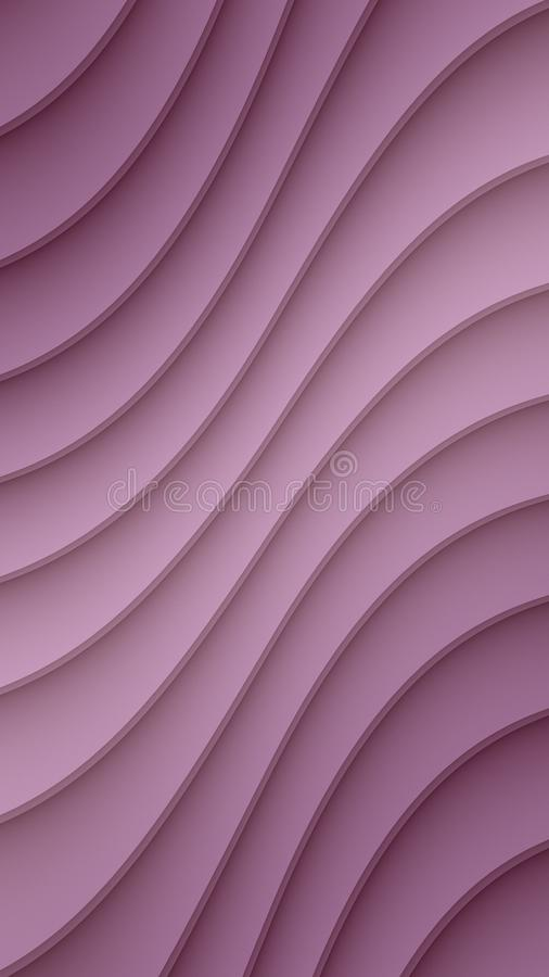 Luxurious Lavender Purple smooth diagonal 3d curved lines abstract wallpaper background. Stylish computer generated abstract fractal background wallpaper design stock illustration