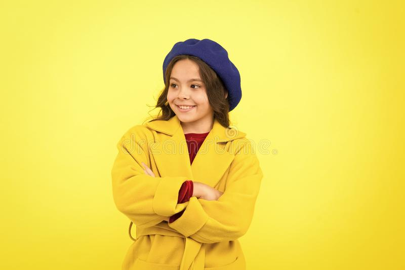 Stylish and confident. Little fashionista. Fashion girl. Adorable girl child in fashionable clothes. Little kid with. Stylish long hair. Happy small child stock photos