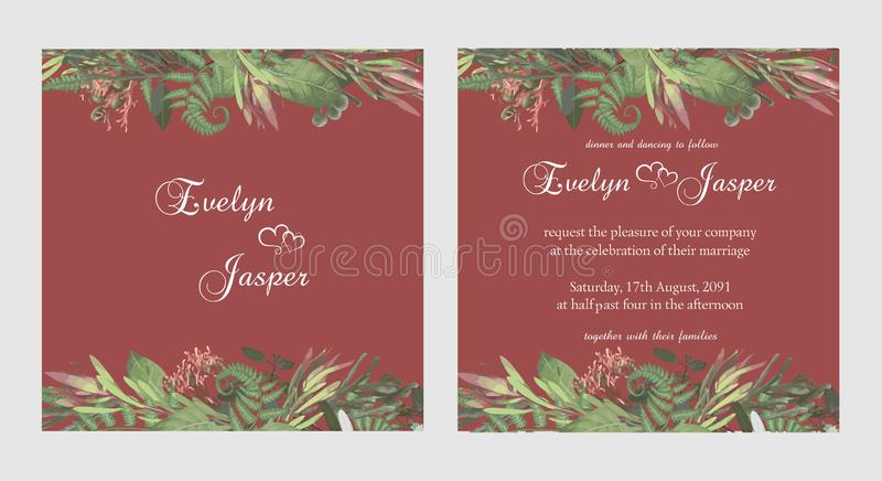 Stylish coral watercolor and flowers vector design cards. Branches, brunia, eucalyptus, leucadendron, gaultheria, salal, jatropha. Decorative square. Trendy stock illustration
