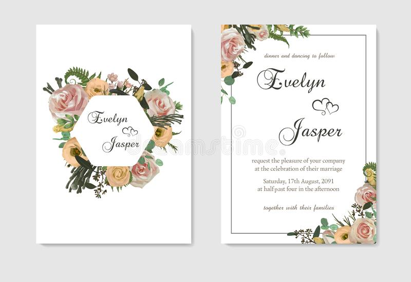 Stylish coral watercolor and flowers vector design cards. Flowers, eustoma cream, brunia, green fern, eucalyptus, branches. Stylish coral watercolor and flowers royalty free illustration