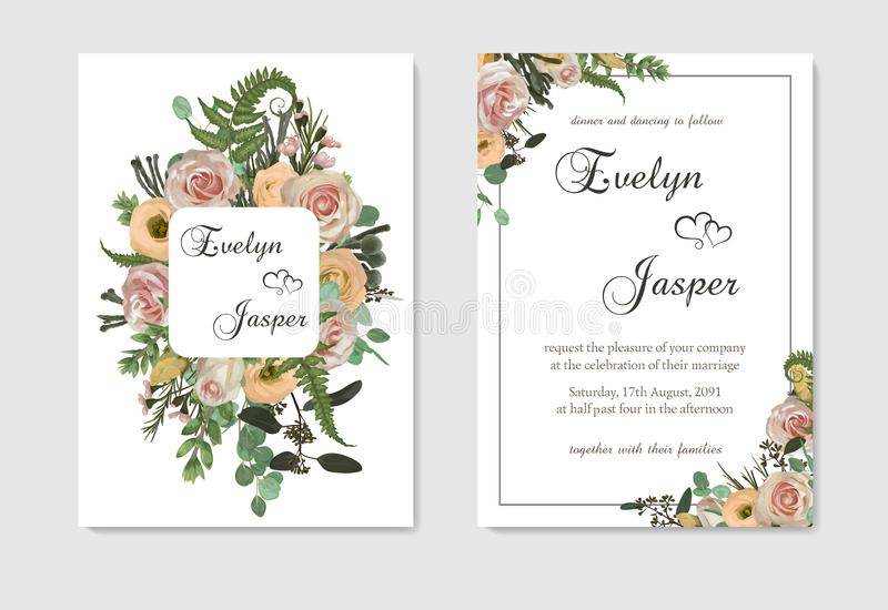 Stylish coral watercolor and flowers vector design cards. Flowers, eustoma cream, brunia, green fern, eucalyptus, branches. Stylish coral watercolor and flowers vector illustration