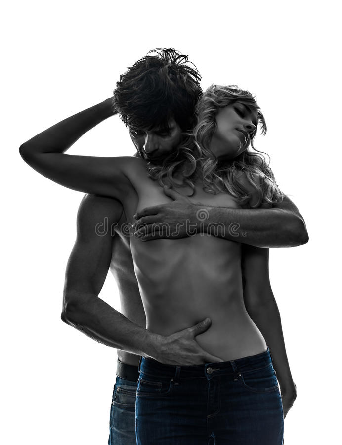 Free Stylish Couple Lovers Topless Lovers Silhouette Stock Image - 33280851