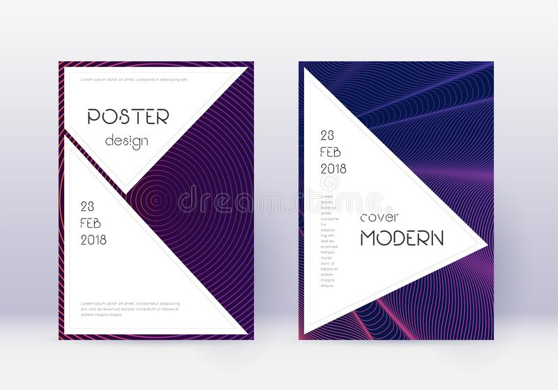 Stylish cover design template set. Violet abstract. Lines on dark background. Fascinating cover design. Interesting catalog, poster, book template etc vector illustration