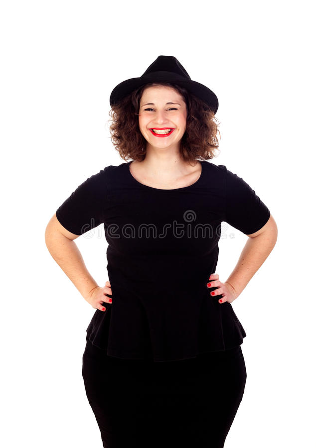 Free Stylish Curvy Girl With Black Hat And Dress Stock Photos - 84473063