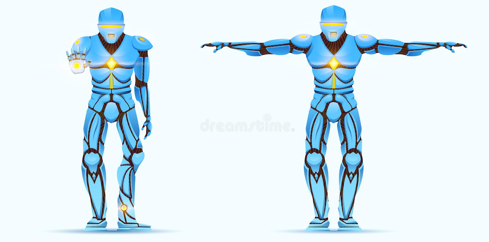 Stylish Cyborg man. Humanoid Robot with artificial intelligence, AI. character shows gestures. Android male, futuristic vector illustration