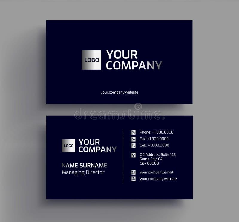 Stylish Dark Business Card Design Template Stock Vector ...