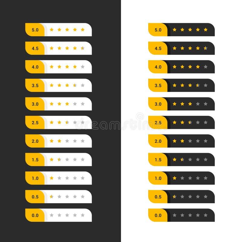 Stylish dark and light yellow star rating symbols royalty free illustration