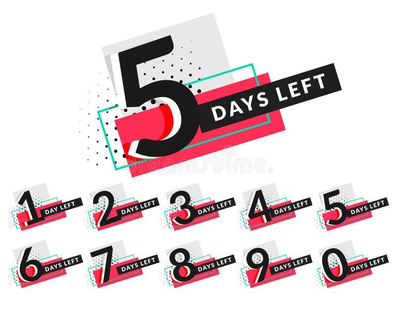 Stylish days countdown timer design vector illustration