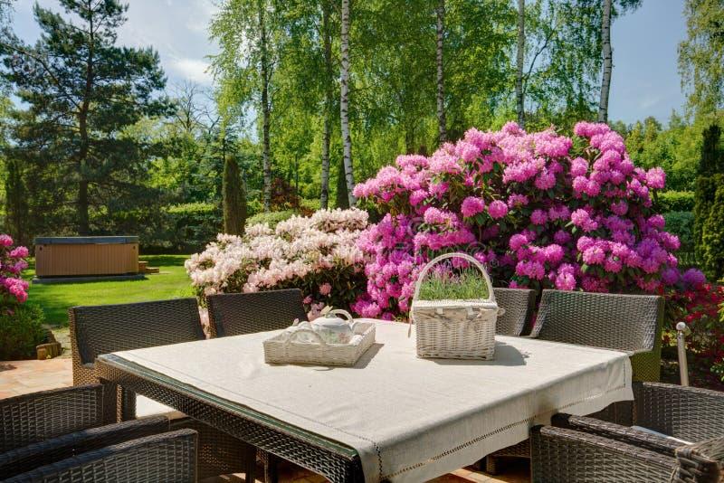 Stylish decoration of the terrace. Stylish decoration of the beautiful terrace of the house stock images