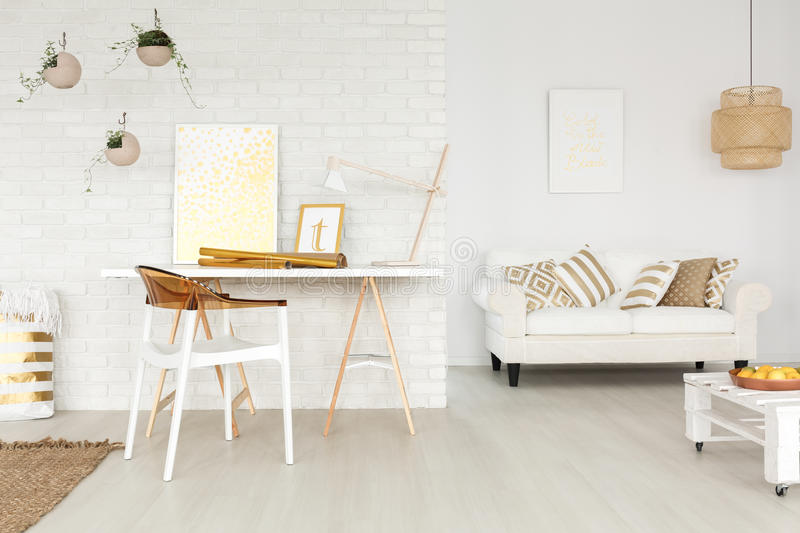 Stylish designer`s office. With small living room royalty free stock image