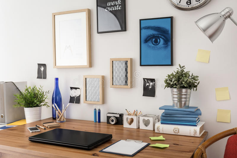 Stylish desk in office royalty free stock image