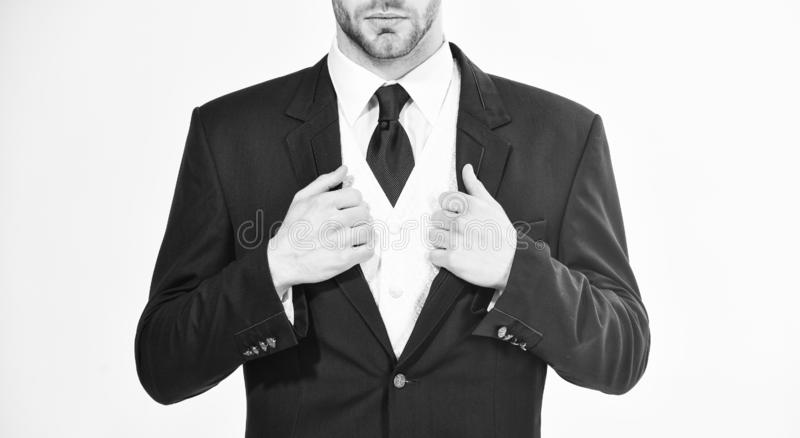 Stylish details business appearance. Business style dress code. Male hands adjusting business suit close up. Confident royalty free stock image
