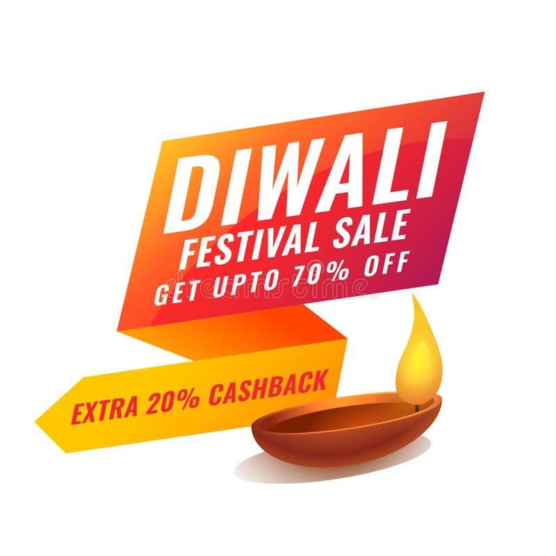 Stylish diwali sale banner in bright vibrant colors. Vector royalty free illustration