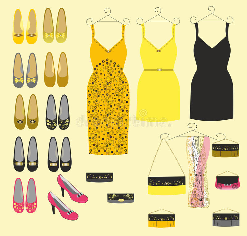 Stylish dress shoes and handbags for girls royalty free illustration