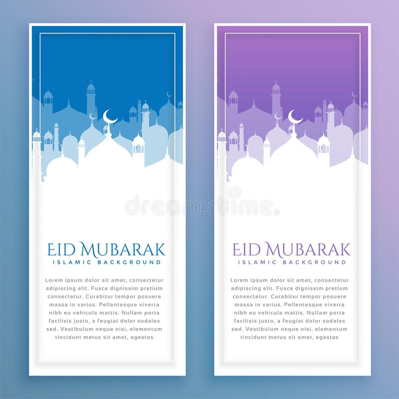 Stylish eid festival banners with text space stock illustration