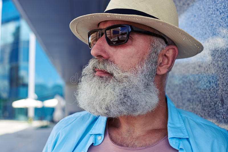 Stylish elderly male stock photos