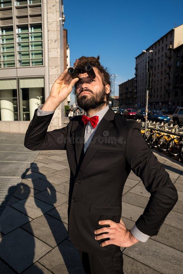 Download Stylish Elegant Dreadlocks Businessman Binoculars Stock Image - Image: 35355505