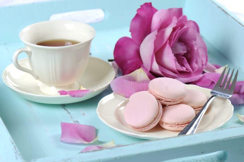 Stylish, elegant, shabby chic style afternoon tea tray stock images