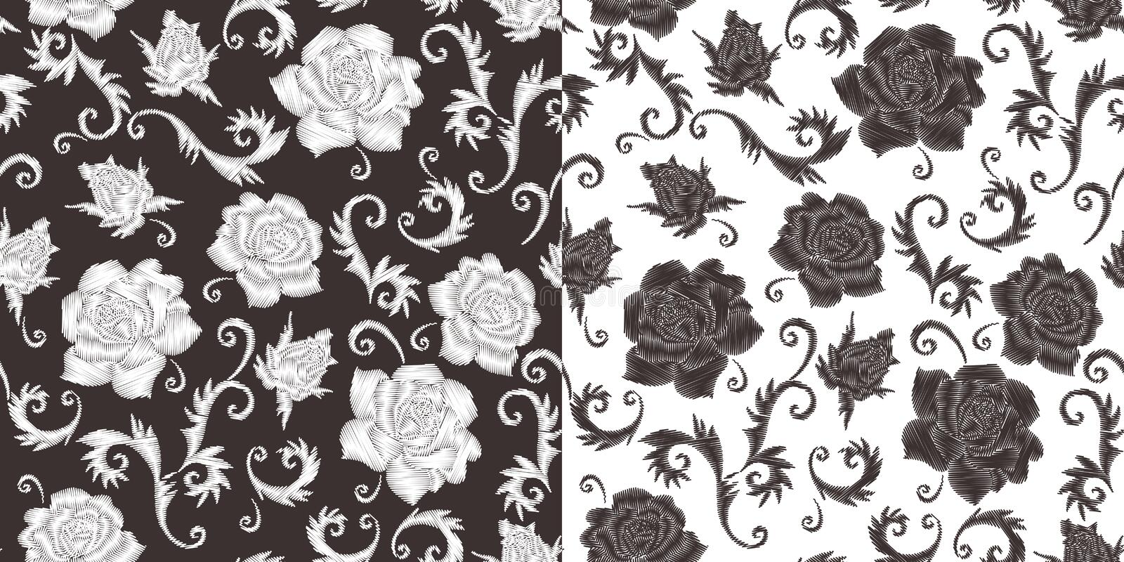 Stylish embroidery. Monochrome seamless pattern with embroidered rose flowers.  stock illustration