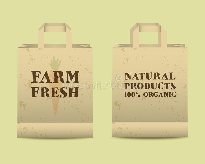 Stylish Farm Fresh paper bags template. Mock up. Design with shadow. Vintage colors. Best for natural shop, organic fairs, eco markets and local companies royalty free illustration