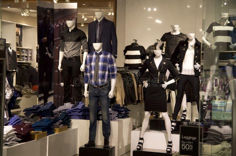 Stylish fashion clothing store stock photography