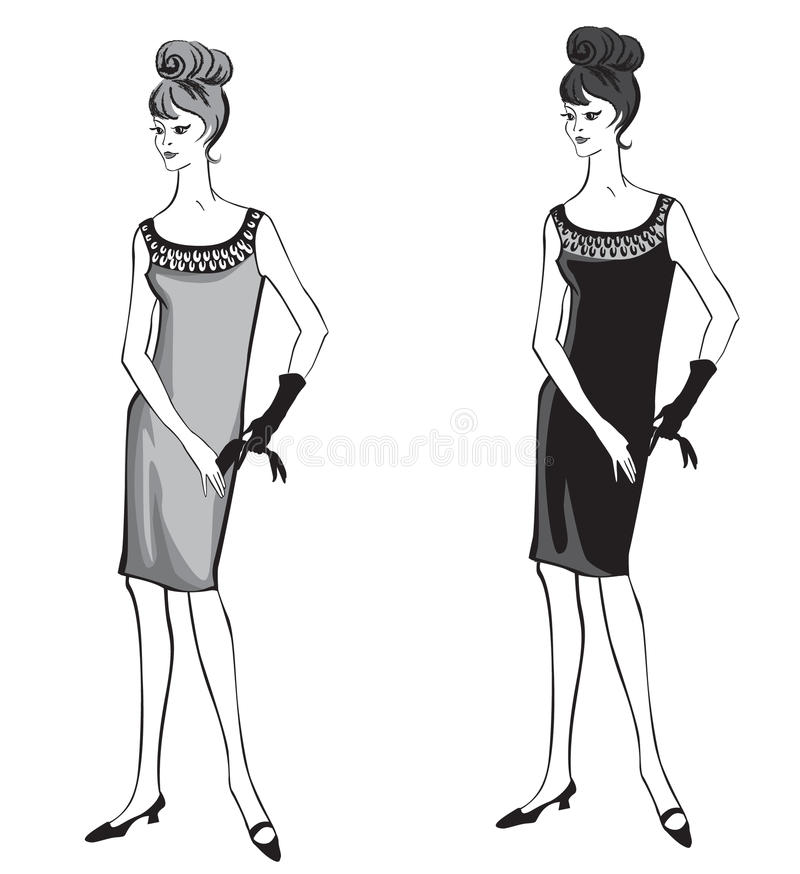 Stylish fashion dressed girl (1950s 1960s style. ): Retro fashion party. vintage fashion silhouettes from 60s-70s vector illustration