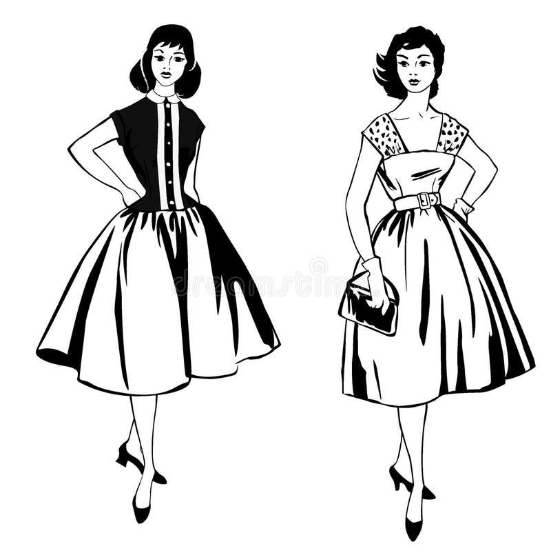 Stylish fashion dressed girl (1950s 1960s style vector illustration