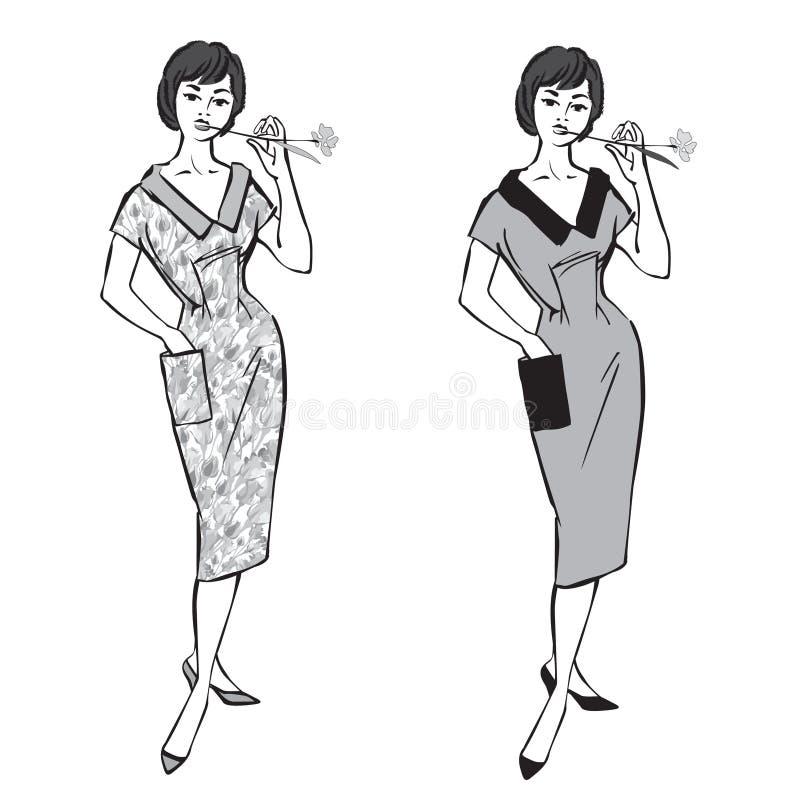 Stylish fashion dressed girl (1950s 1960s style stock illustration