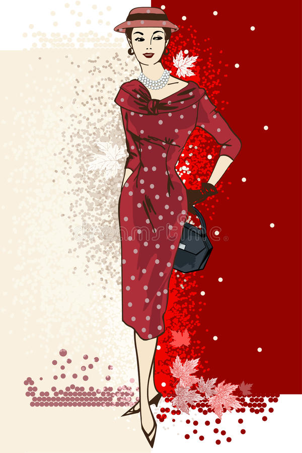 Stylish fashion dressed girls wiht red dress. Stylish fashion dressed girls.Retro fashion party. Vintage fashion silhouettes from 50s. Vector illustration vector illustration