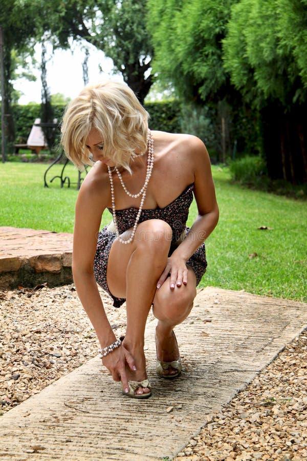 Stylish fashion glamour model in summer shorts stock image