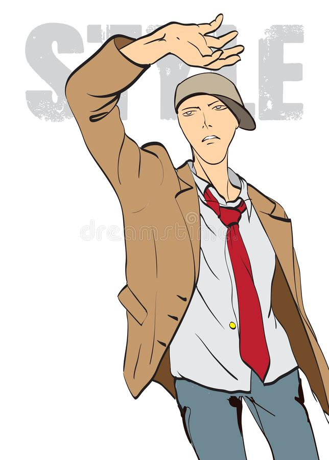 Stylish fashion man. Stylish handsome man in fashion clothes. Sketches on a brown background. royalty free illustration