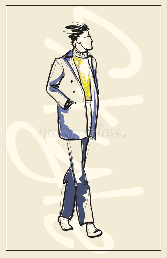 Stylish fashion man. Stylish handsome man in fashion clothes. Sketches on a white background. vector illustration