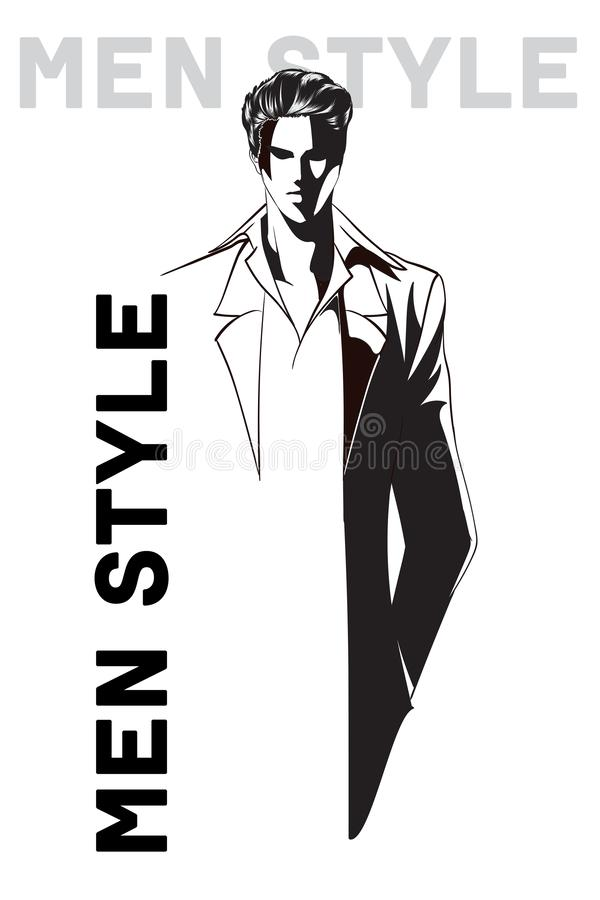 Stylish fashion man. Stylish handsome man in fashion clothes. Sketches on a white background. royalty free illustration
