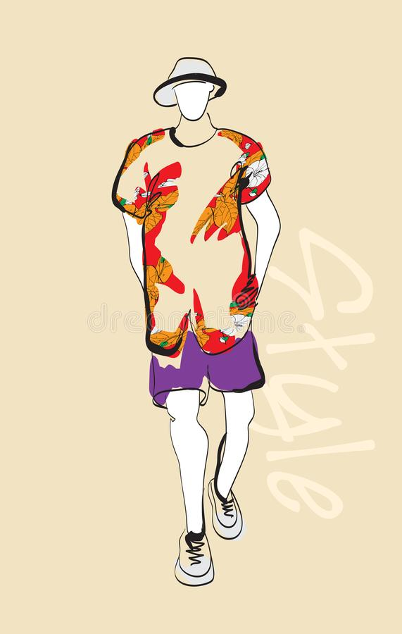 Stylish fashion man. Stylish handsome man in fashion clothes. Sketches on a brown background. stock illustration