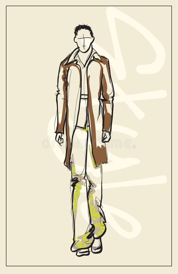 Stylish fashion man. Stylish handsome man in fashion clothes. Sketches on a white background. stock illustration