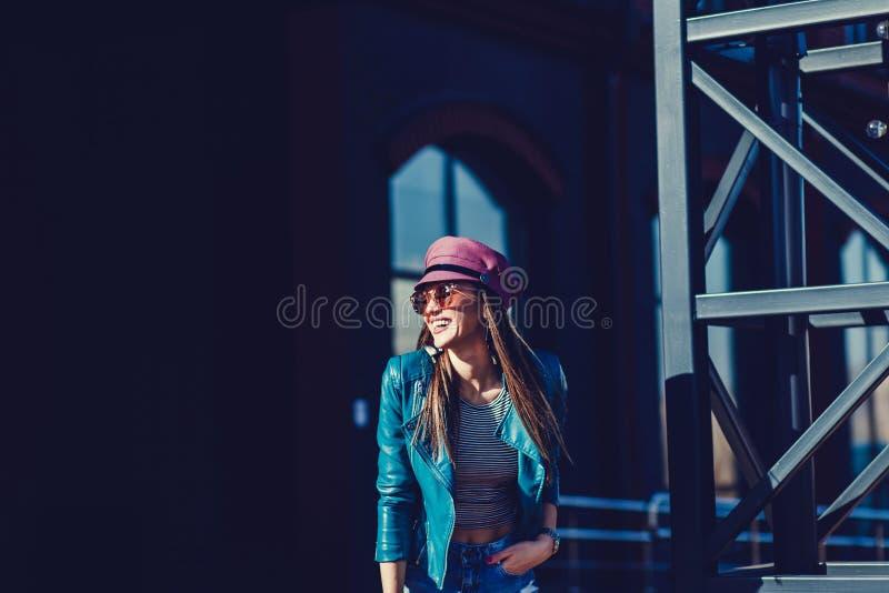 Stylish fashion portrait of brunette woman royalty free stock photos
