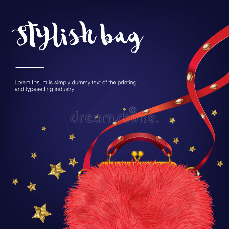 Stylish fashion and trendy wool woman's bag with stars. stock photo