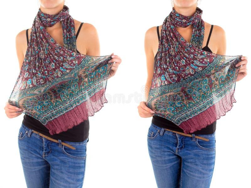 Download Stylish Feminine Scarf With Oriental Pattern Stock Image - Image: 37120625