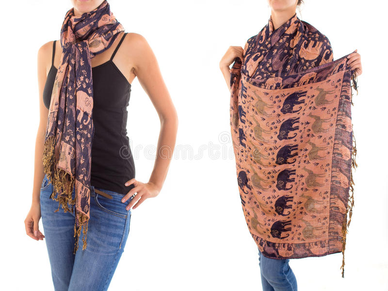 Stylish Feminine Scarf With Oriental Pattern Royalty Free Stock Photography