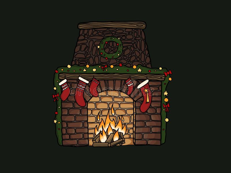 Stylish fireplace with christmas stockings, wreath, ornaments at stock illustration