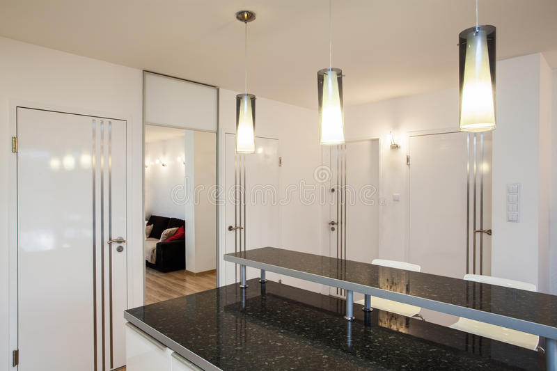Stylish flat - Countertop in the kitchen royalty free stock photo