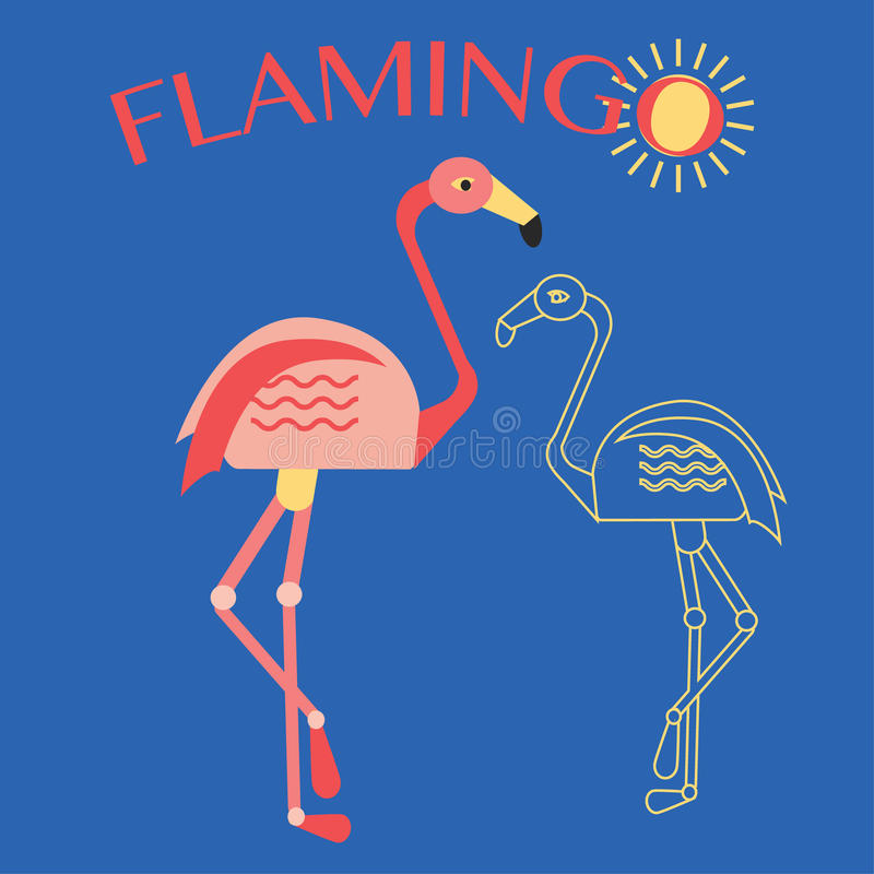 Stylish flat design flamingo Icon. stock illustration