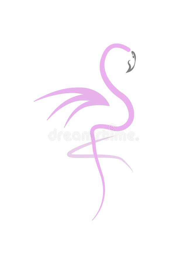 Stylish flat design flamingo Icon. Vector silhouette of flamingo. Name design for the company. isolated vector illustration