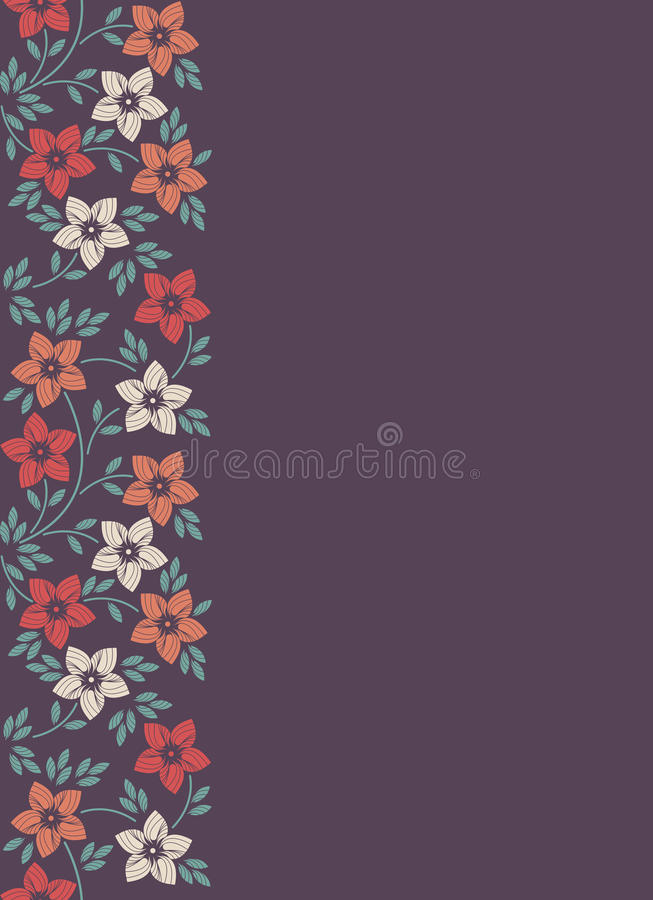 Stylish floral background, frame with elegant flowers. Abstract trendy spring or summer background with a purple sheet of paper royalty free illustration