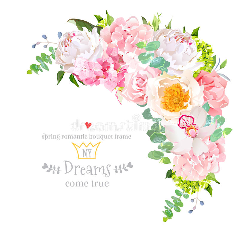 Stylish floral crescent shaped vector design frame royalty free illustration