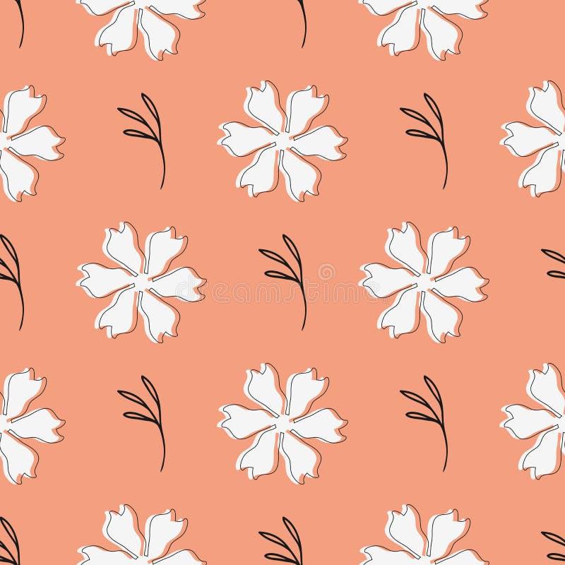 Stylish floral seamless pattern. Sketch drawn by hand. Endless feminine print. stock illustration