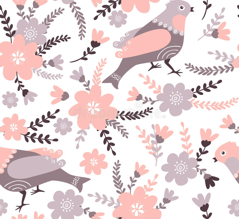 Stylish floral seamless pattern. Summer background in bright colors. Cute cartoon birds and flowers in vector. Stylish floral seamless pattern. Summer vector illustration