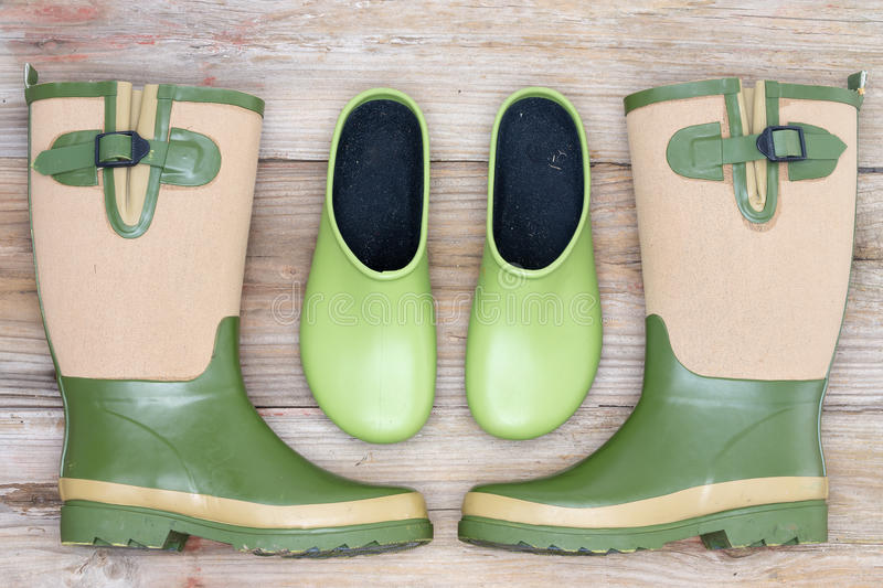 Stylish footwear for the garden royalty free stock photography